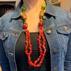 Jewelry - Unique Coral and Bead Necklace from Brazil